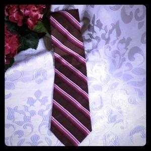 Bachrach 100% silk woven brown multi neck tie